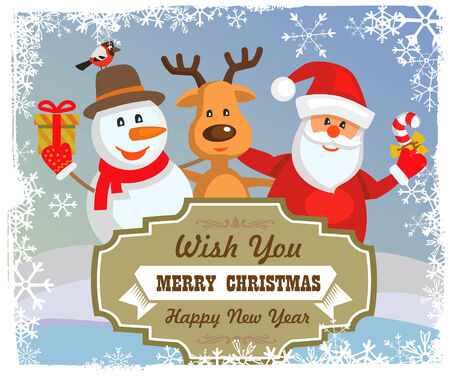 vector reindeer, snowman, santa claus and new year photo
