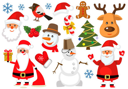 vector color christmas icons set om white photo