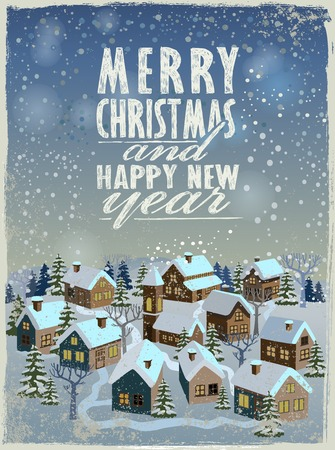 villages: vector merry christmas and happy new year illustration Stock Photo