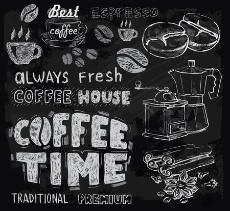 칠판 배경에 벡터 분필 커피 스톡 콘텐츠