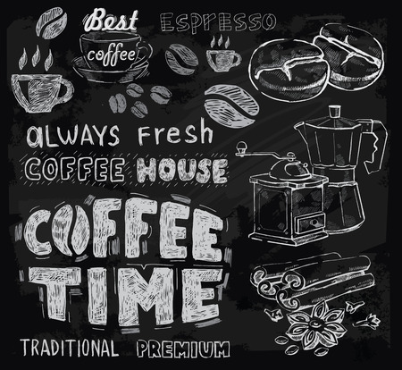 coffee shop: vector chalk coffee on chalkboard background