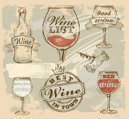 vector wine set on vintage grunge background photo