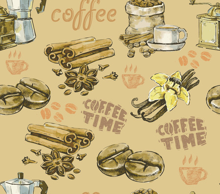 Hand drawn color vector coffee background photo