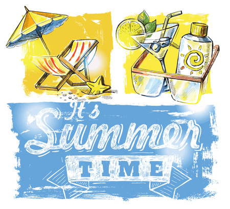 Hand-drawn summer symbols - vector illustration illustration