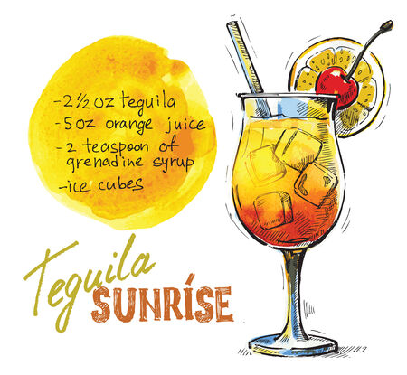cartoon menu: vector hand drawn picture of tequila sunrise glass Stock Photo