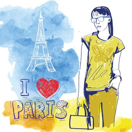 Vektor-Hand gezeichnete Bild der Mode Mädchen
