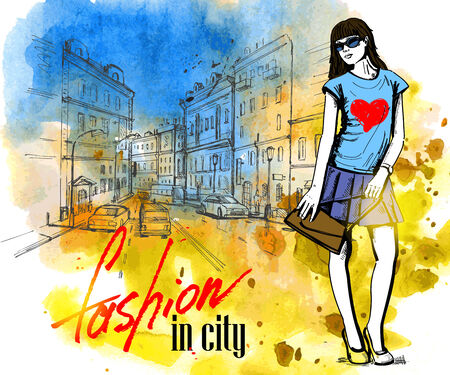 fashion building: vector hand drawn picture of fashion girl