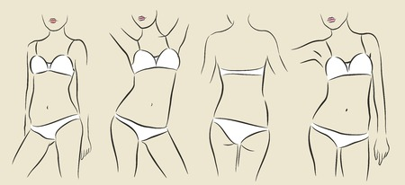 vector illustration of woman in bikini