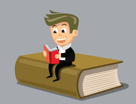 concentrating: vector boy reading a book Stock Photo
