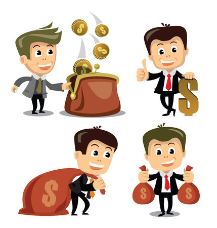 vector businessman in various poses photo