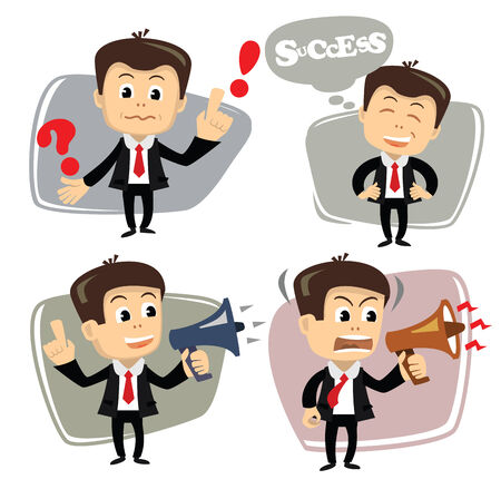 vector businessman in various poses uses megaphone photo