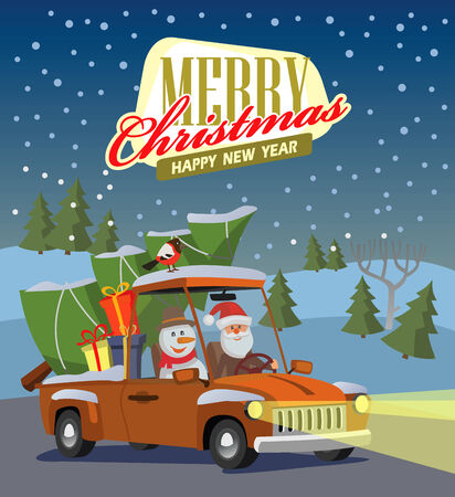 vector merry christmas and happy new year photo