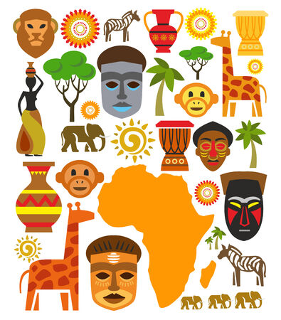 africa tree: vector africa icon set Stock Photo