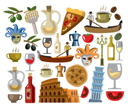 vector italië pictogrammen instellen