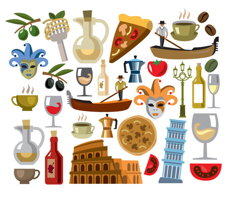 vector italy icons set photo
