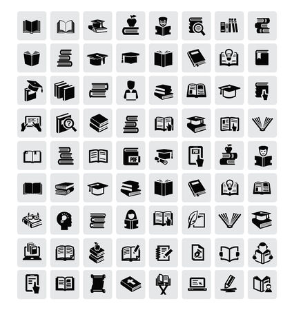 vector black books icon set in the gray squares photo