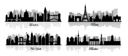 vector de Londres, Nueva York, Berlín y París