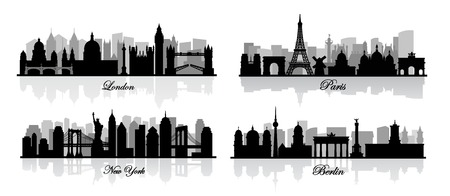 london skyline: vector london, new york, berlin and paris Stock Photo