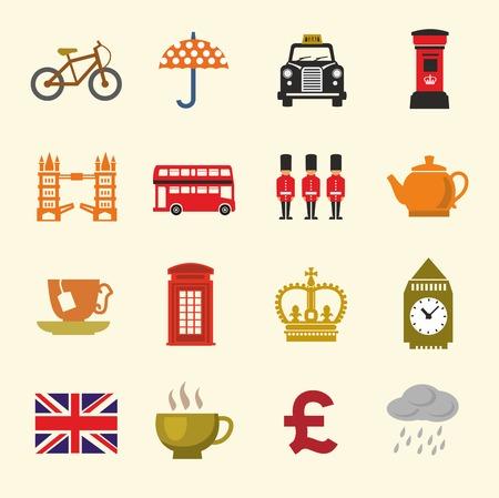 british culture: vector color uk icon set