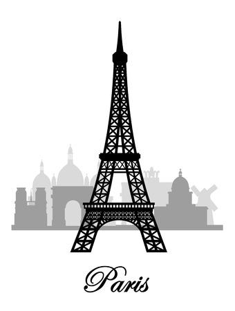 scraper: vector paris skyline silhouette