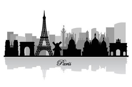 paris skyline: vector paris skyline silhouette