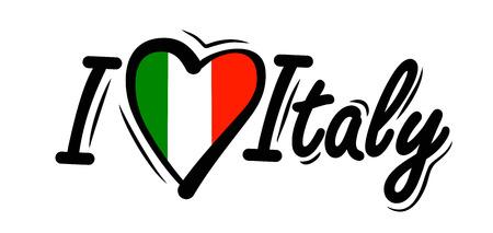 hart: I Love Italy vector Stock Photo