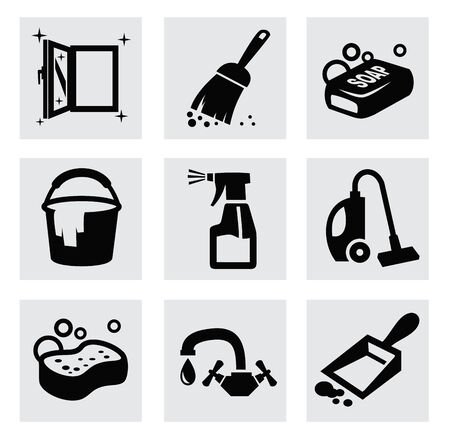chores: vector black cleaning icons set on gray Stock Photo