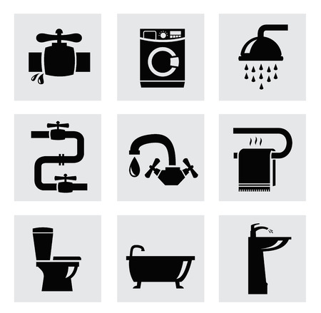 showering: vector bathroom icon set Stock Photo