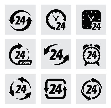 hrs: vector 24 hours symbols Stock Photo