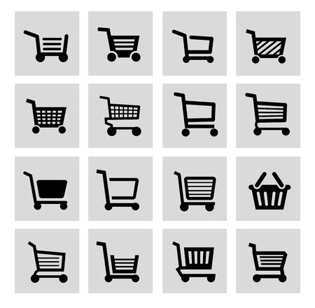 vector black shopping cart icon set photo