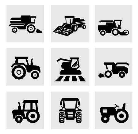 combinar: negro iconos de transporte agrícola conjunto de vectores