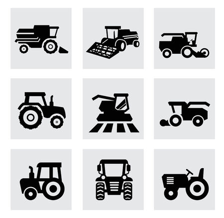 agriculture machinery: vector black agricultural transport icons set Stock Photo