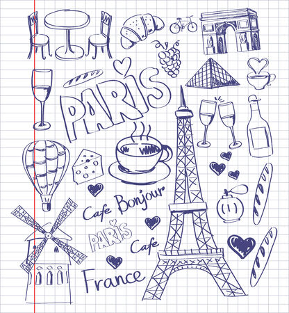 vector hand drawn paris illustration illustration
