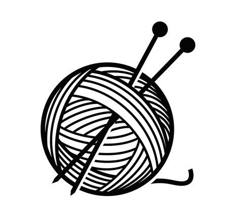 balón: hilados y agujas Foto de archivo