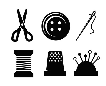needle and thread: Vector sewing icons