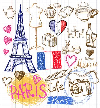 ベクターの手描きパリの図