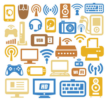 electronic devices icon set photo