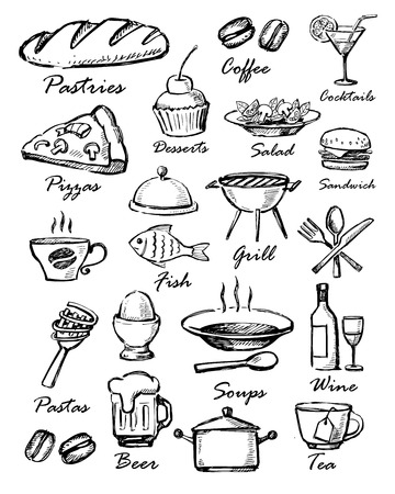 soup and salad: menu icons Stock Photo