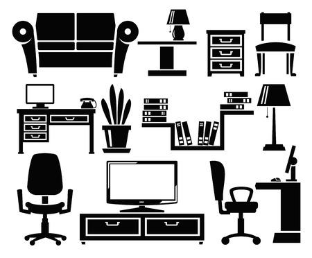 muebles de oficina: iconos de muebles