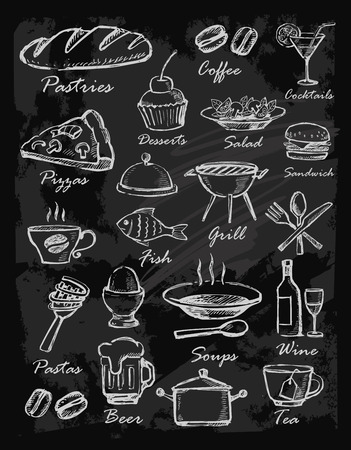 chalk board: menu icons Stock Photo