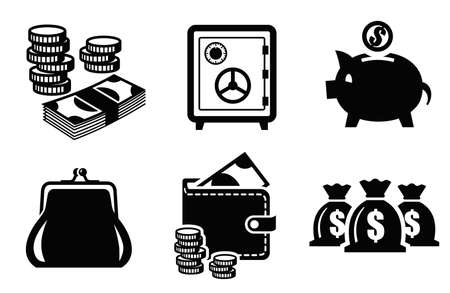 coin stack: banking icons