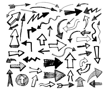 ベクトルの白の手描きの矢印アイコン セット 写真素材