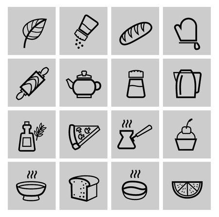 spice cake: vector food icons set Stock Photo
