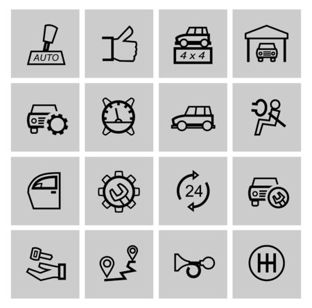vector black auto icons set photo