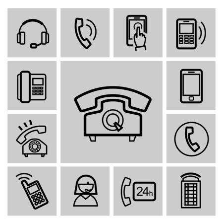 vector black phone icons set Stock Photo