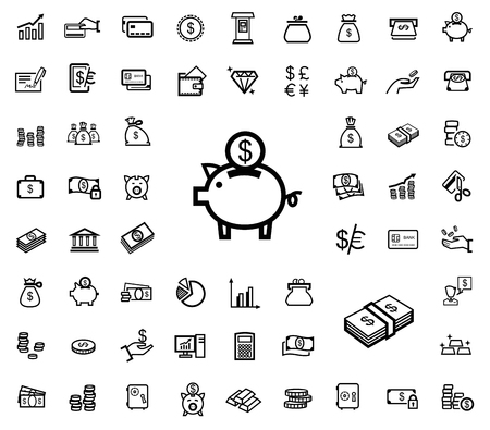 bank office: vector black business icons