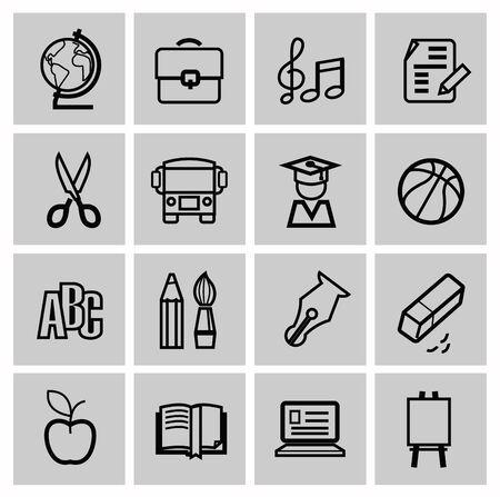 writing instruments: Icons set school