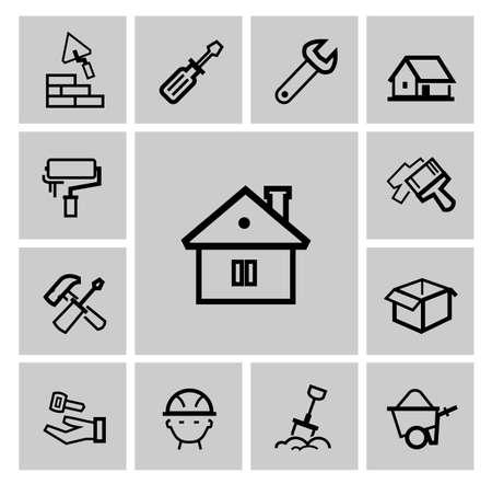 architecture pictogram: vector black construction icons set Stock Photo