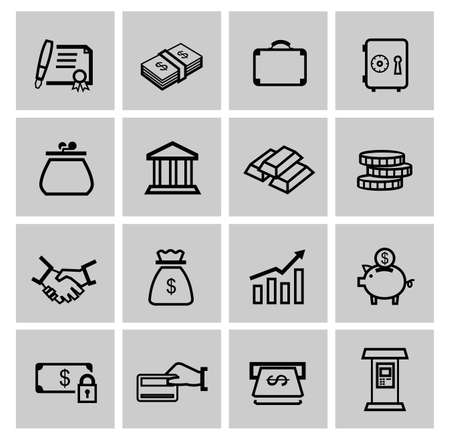 vector black business icons photo