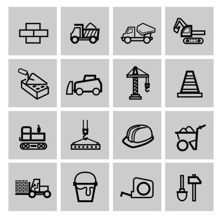 skid steer: vector black construction icons set Stock Photo